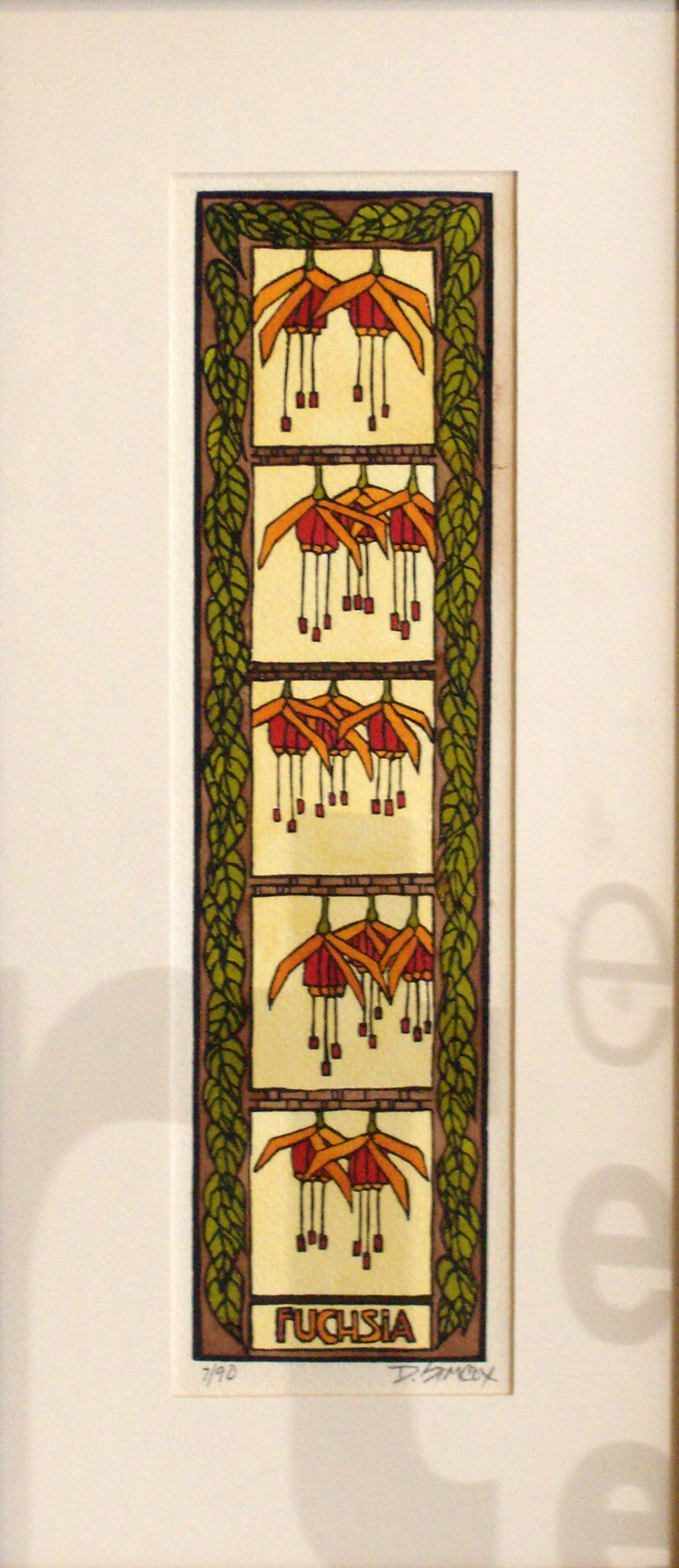 Vertical fuchsias linoleum block print fleurs for Craftsman style prints