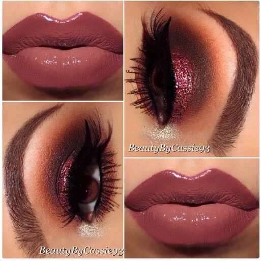 Nude lips red/ brown eye makeup