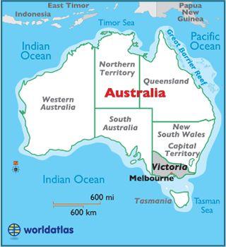 Locator Map of Melbourne, Victoria, Australia