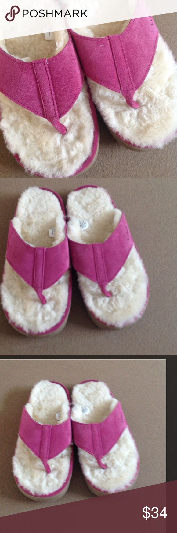 LL BEAN Wicked Good Shearling slippers. NEW Size 6 Beautiful fuchsia suede LL Bean Wicked Good real Shearling lined thong slippers/shoes. New, never worn. No box. Heavy rubber sole, can wear outside. Real leather. Size 6 LL Bean Shoes Flats & Loafers