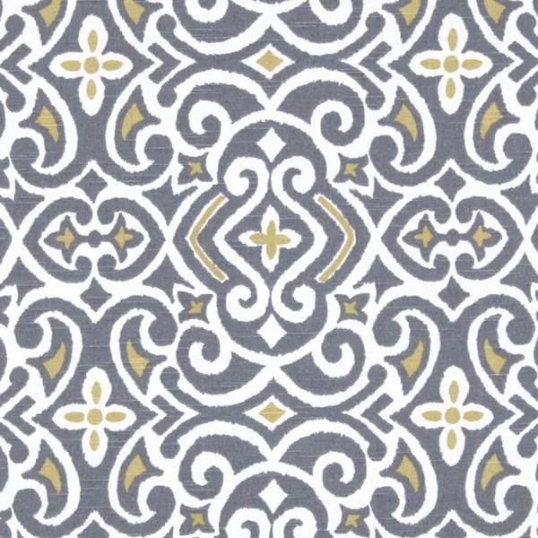 A damask fabric with a tribal take in grey, golden yellow and cream.Perfect for drapery, roman blinds, decorative pillows, seat cushions, upholstery and other h