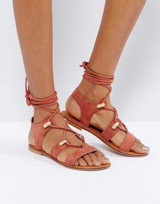 ASOS - FLORENTINA - Sandali in camoscio stile western con allacciatura alla caviglia