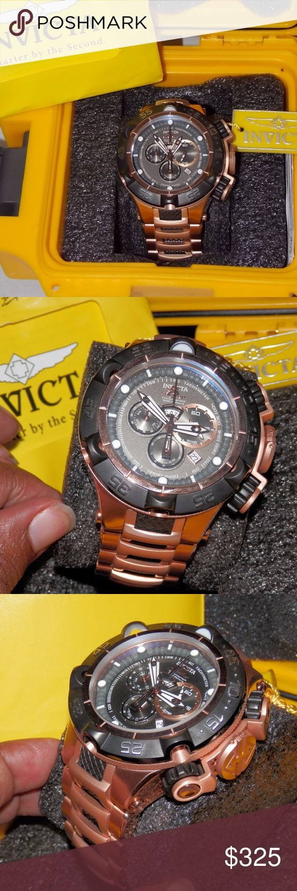 """Invicta Subaqua Noma V 15916 Quartz 50mm Rosetone Invicta Subaqua Noma V 15916 Swiss Quartz 50mm ROSE GOLD/GUNMETAL ion plated SS  Lightly worn. All functions/dials/pushers work. Original battery cannot be guaranteed  Bracelet shortened to about 8"""", additional links included to lengthen to original length. Comes with yellow Invicta single dive box, instructions.  Copy/paste link in browser for add'l info: http://www.evine.com/Product/627-732 Invicta Accessories Watches"""