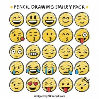 Pencil drawing smiley pack