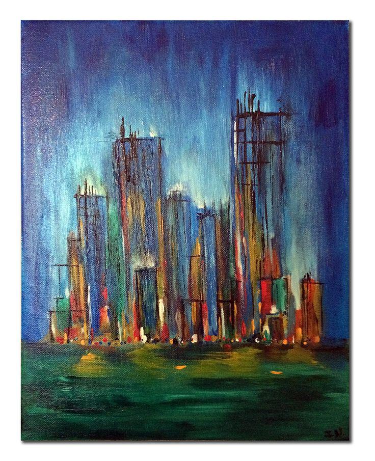 Cityscape #5, Acrylic on Canvas  #art #painting #acrylicpainting #visualarts #cistyscape