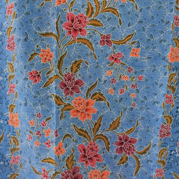 blue flowers pure cotton traditional Indonesian by TheThailand