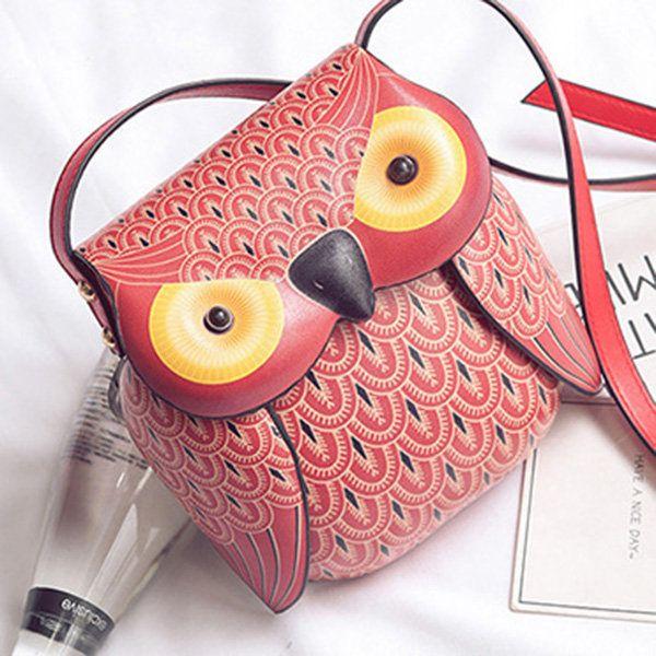 Cartoon Owl Shape Shoulder Bag Creative Crossbody Bag Phone Bag