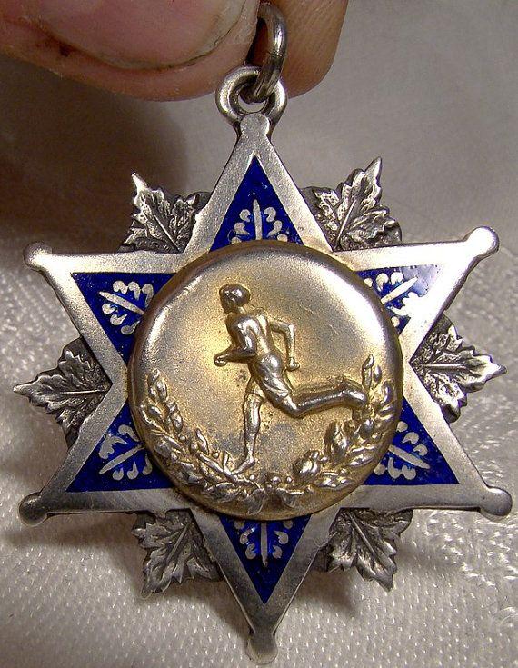Sterling Silver Enamel ST M.C.I. Sports Award Fob Pendant 1915