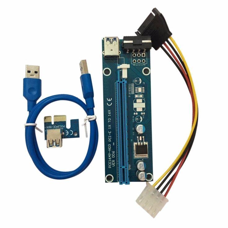 PCI-E PCI Express Riser Card 1x to 16x USB 3.0 Data Cable SATA to 4Pin IDE Molex Power Cord Supply for BTC Miner Machine Hot #Affiliate