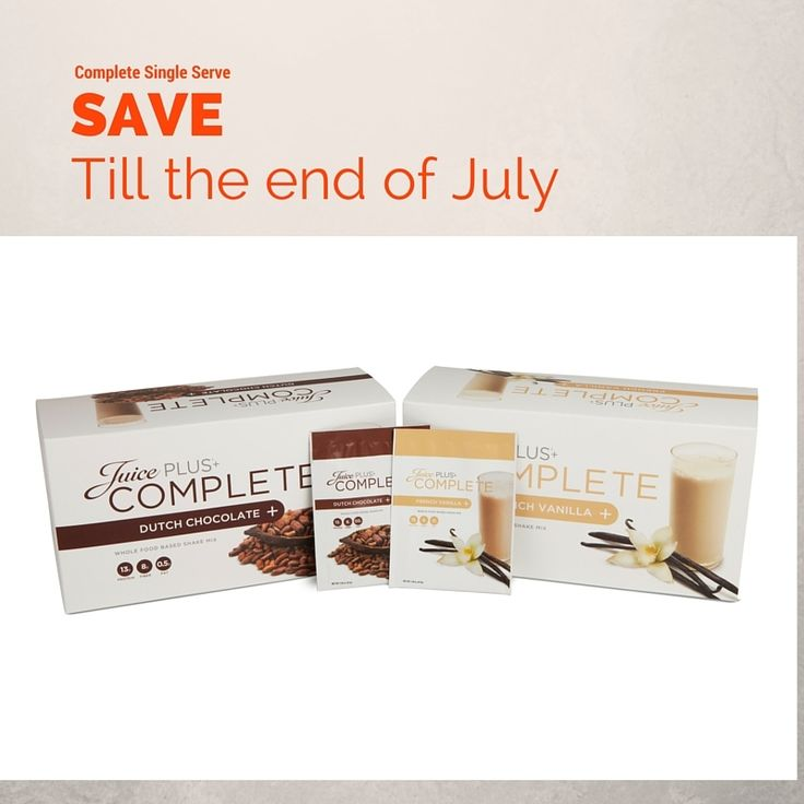 Order the Juice Plus Complete packages and receive Juice Plus Single Serve packages for the same price. Juice Plus Single Serve packages are so convenient, especially for summer. You will automatically be sent the single serve for the month of July only.