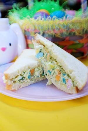 easter egg salad sandwich, plus links to 3 other sandwiches
