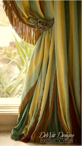 Elegant Green And Yellow Striped Drapes With Fringe And Wrought Iron Old Back Beautiful Drapes Curtainsdrapery Panelscurtain Designscurtain