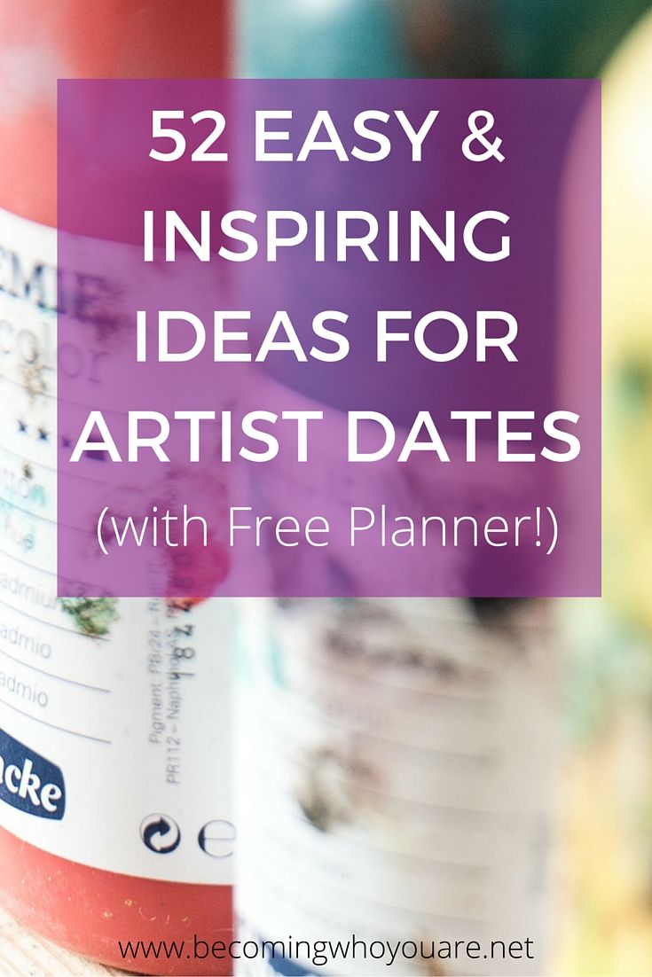 This week on the blog, I'm sharing 52 easy & inspiring ideas for artist dates, plus a free planner you can use to plan, schedule and review yours.