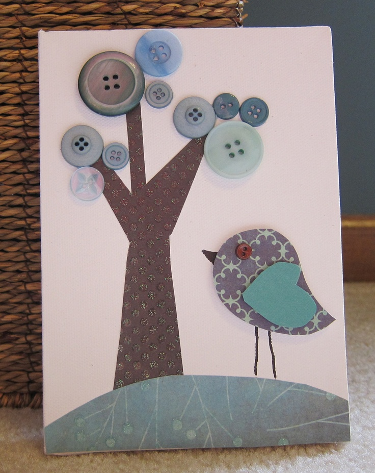 Children's Room Canvas Art, Nursery decor,  5 x 7, bird, tree, cute as a button, blue and brown. $16.00, via Etsy.