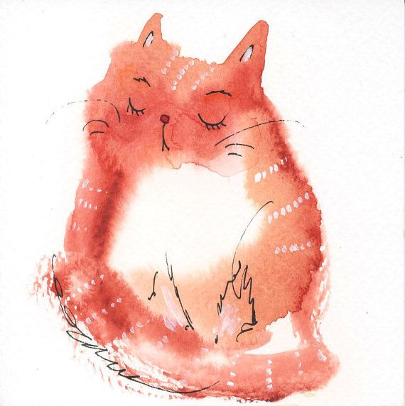 Small original watercolor painting cute cat nr 3  39 x by tinabits