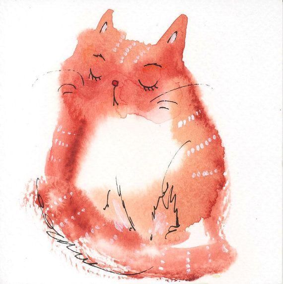 Small original watercolor painting cute cat nr 3  39 x by tinabits