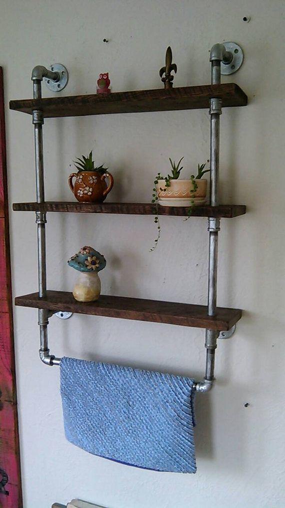 Reclaimed Wood Pipe Shelf Black Pipe Shelving Custom Black Pipe Wall Mounted Shelves