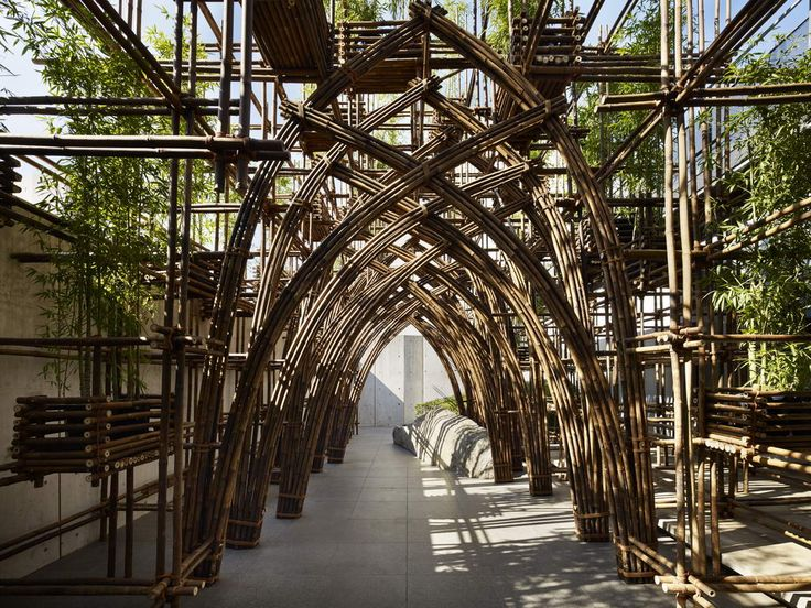 "This bamboo pavilion is constructed for the 30th anniversary exhibition ""The…"