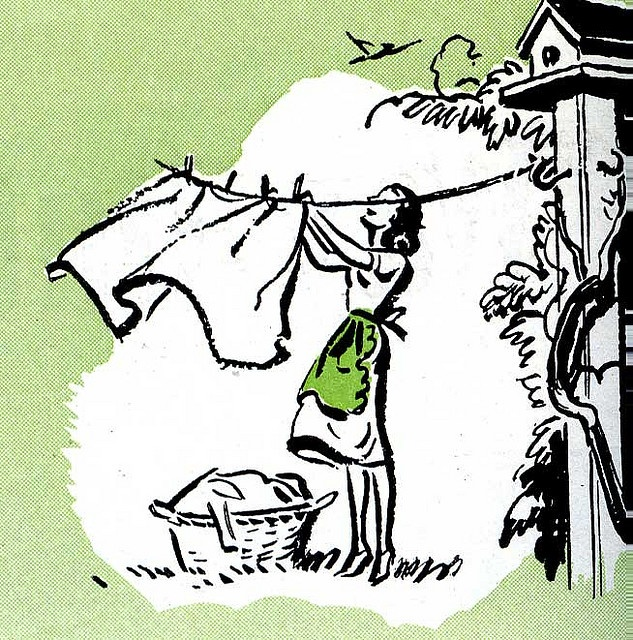 A charming green, white and black vintage illustration of a woman hanging up her laundry.