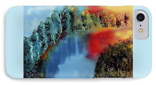 River Of Colors IPhone 7 Case Printed with Fine Art spray painting image River Of Colors by Nandor Molnar (When you visit the Shop, change the orientation, background color and image size as you wish)