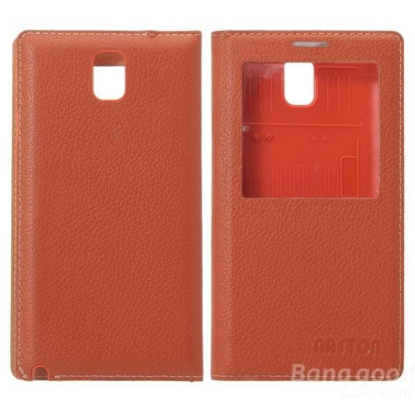 Genuine Leather Case With View Window For Samsung Note 3 N9000