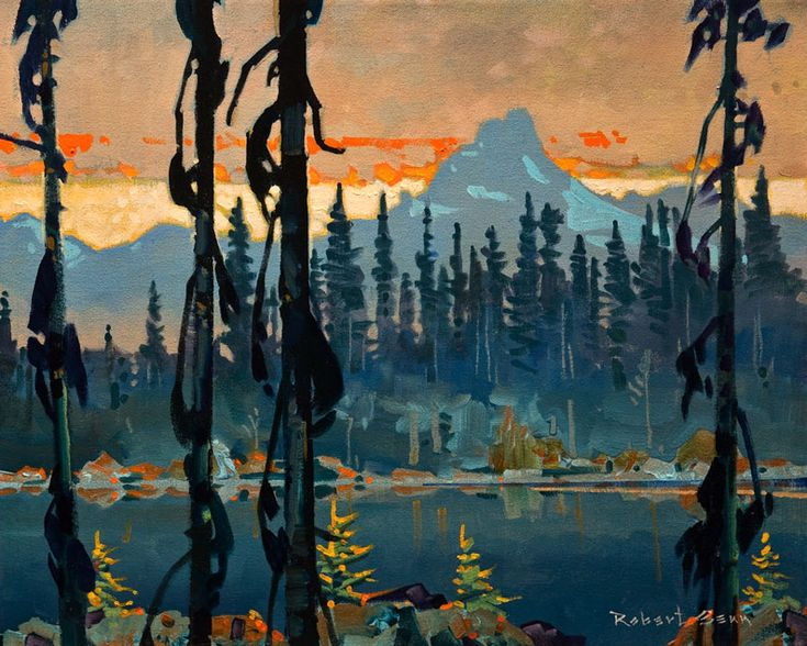 Evening, The Cathedral from Lake O'Hara, by Robert Genn