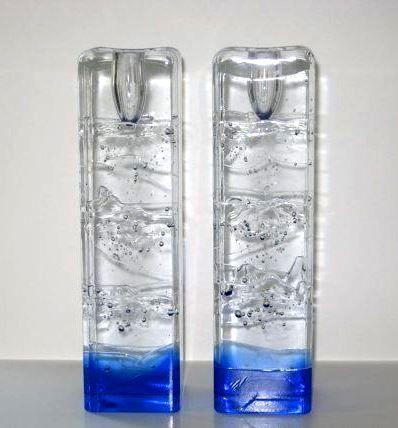 Arkipelago by Timo Sarpaneva for Iittala. Blue Ice Block Candle Holders.
