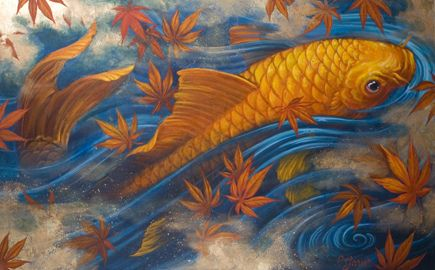 Chris Garver; Koi with Maple Leaves painting