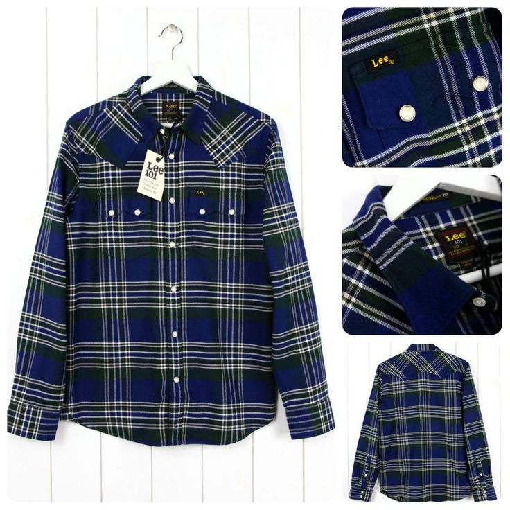 NEW LEE 101 RIDER FLANNEL SHIRT CHECK  BLUE/GREEN LUMBERJACK SAW TOOTH S/M/L/XL