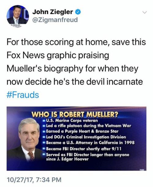 Fox News was laudatory until Mueller began closing in on Trump & co. & the King of Conflicts accused Mueller of conflicts because he & were DOJ colleagues, in 2 different departments (not close friends) & Trump considered him for a job in his administration. Why would that bias him AGAINST Trump? As for his team's 3 small Dem donations, none in 2016, Trump donated to Dems. If that makes one biased, then no one who's donated to either party can investigate anyone & few public servants…