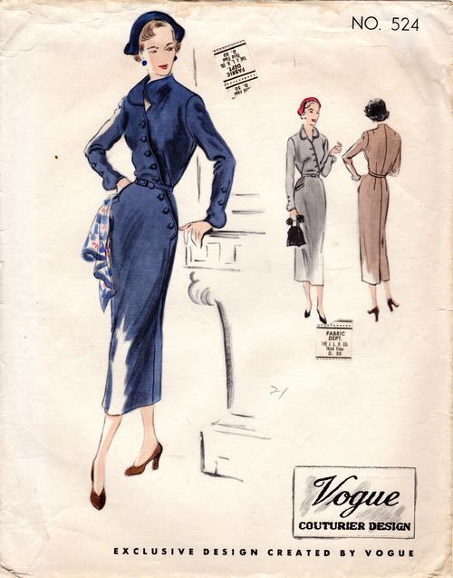 Vogue 524 Couturier Designer pattern from 1949 - Diagonal Buttons Asymmetrical Sheath Revers Gauntlet Style Sleeves Film Noir