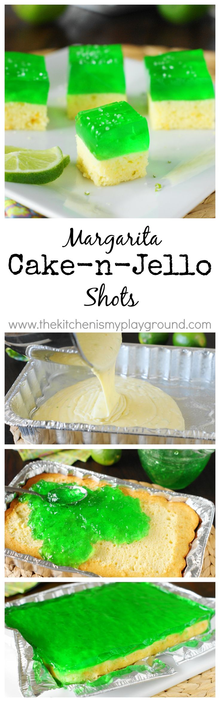 Margarita Cake-n-Jello Shots ~ combine Margaritas, cake, & a Jell-o shot all into one fun-and-festive little party bite!   www.thekitchenismyplayground.com