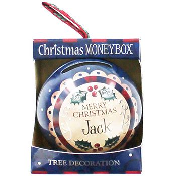 Personalised Money Box Bauble - Jack   Money Boxes at The Works