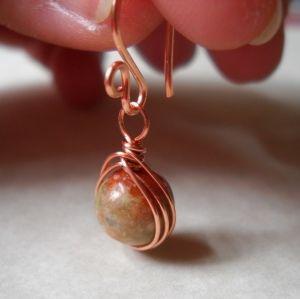 Wire wrapped bead drop earrings