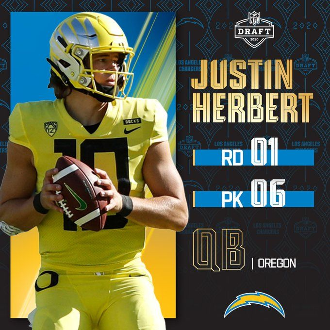 Justin Herbert Qb Chargers Nfldraft On Nfln Espn Abc In