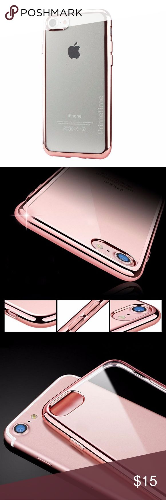 PrimeTime Luxury Elite Case For iPhone 8 Features: * Clear back with metallic pink bumper - also available with silver, gold or  blue bumper  * Luxury Eletroplated Crystal Clear Soft TPU * Ultra Slim Profile * Soft to the touch * Drop Tested Shockproof * Superior Fit * PrimeTime Retail Packaging PrimeTime Accessories Phone Cases