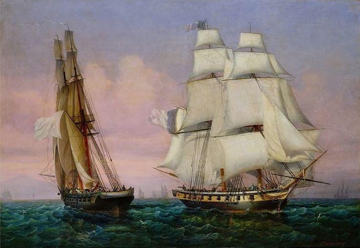 Retour de l'île d'Elbe, 28 février 1815; rencontre du brick l'Inconstant avec le brick le Zéphir.