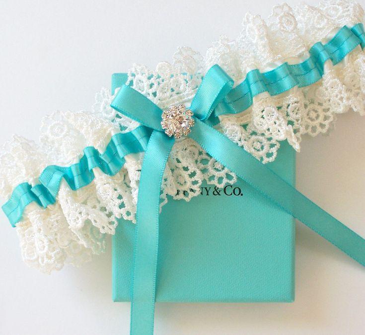TIFFANY Blue Wedding Garter  - The ALLIE Garter. $25.50, via Etsy.