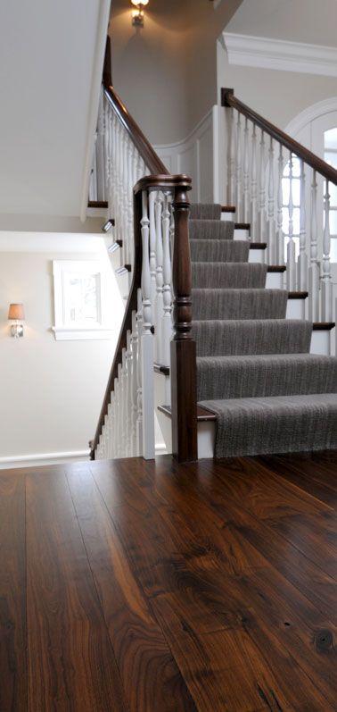 wide walnut floors + grey & white - l love that deep rich, earthy walnut look!