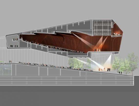 El auditorio puede compartir equipos con el escenario debajo de él.