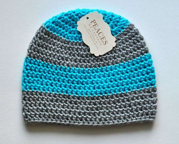 Baby Hats  Bright / Neon Blue  & Gray Baby by peacesbycortney, $24.00