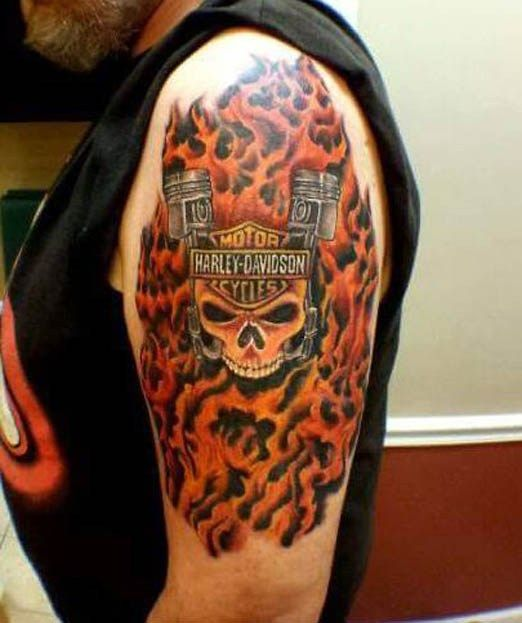 That S One Hell Of A Tough Looking Harley Davidson Tattoo