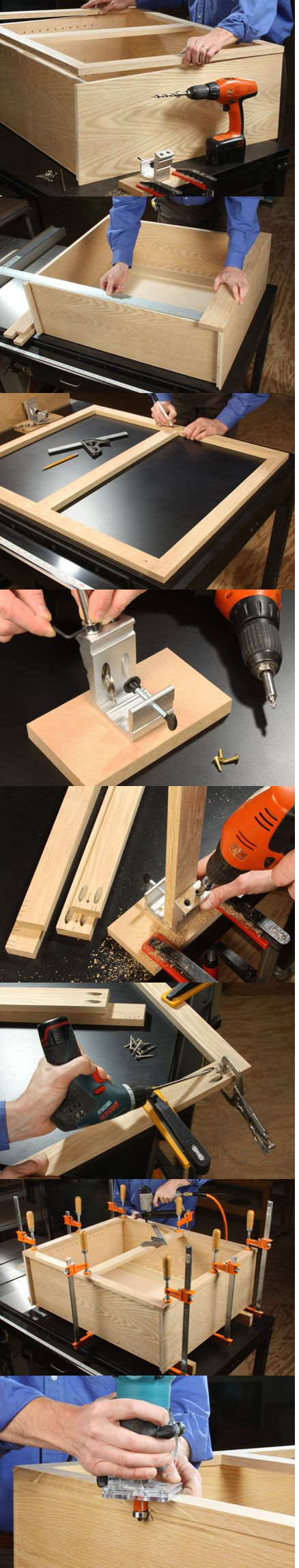 Trim out a cabinet the classic way using pocket-screw joints. Face frames provide attachment points for door hinge and latch hardware, while hiding the front edges of the cabinet box. They can also help correct minor plywood bowing and give you a means of fitting one cabinet against its neighbor. - Step by Step Guide from Woodworker's Journal with images #cabinet #diy #faceframe #kitchen http://www.woodworkersjournal.com/fast-easy-face-frames-with-pocket-screws/
