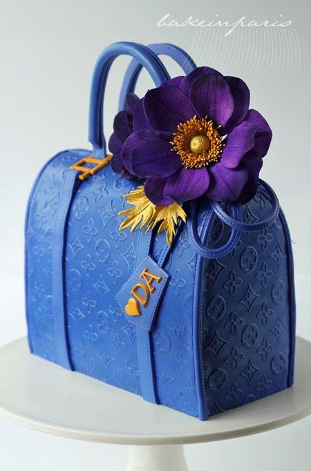 Bake in Paris: Beautiful purple flower and LV bag cake , www.CheapMichaelKorsHandbags#com, handbags louis vuitton, shop louis vuitton handbags online,