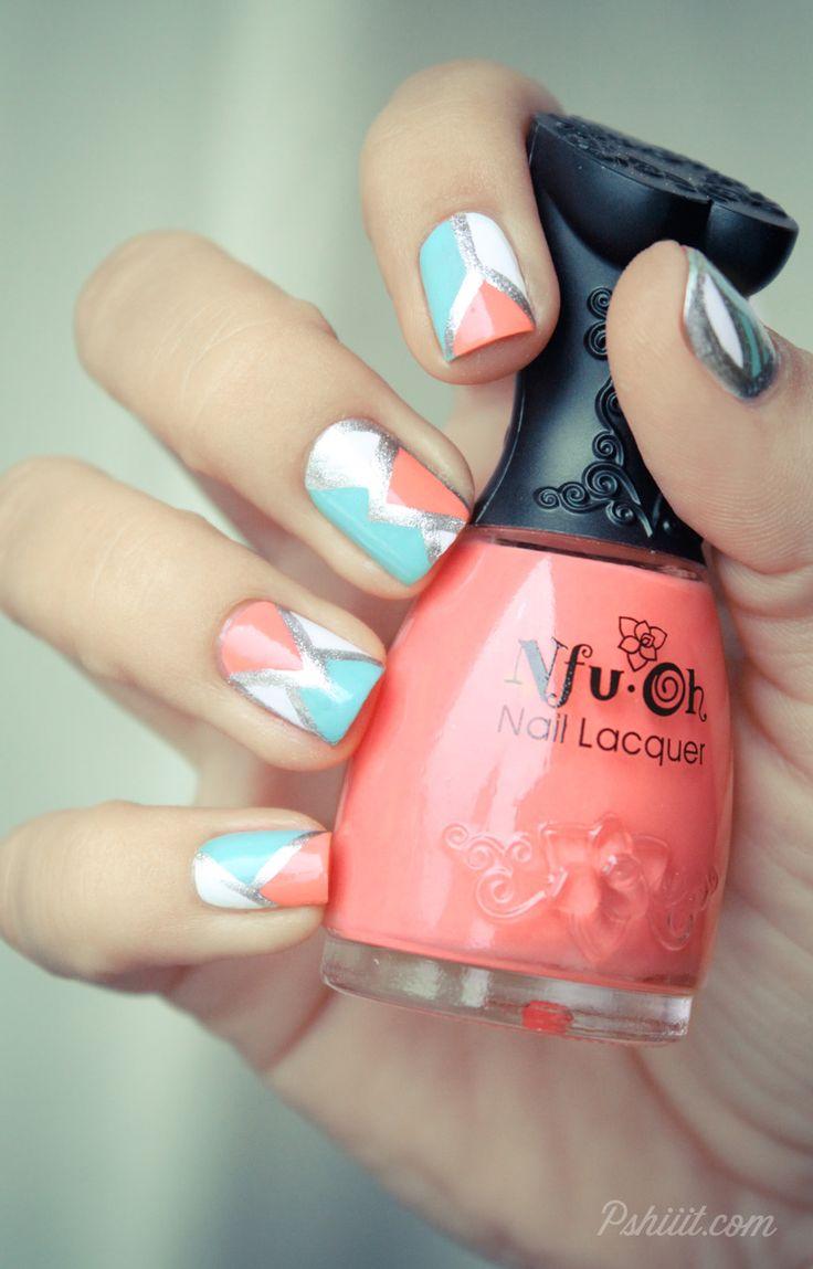 pink white & blue nail design.
