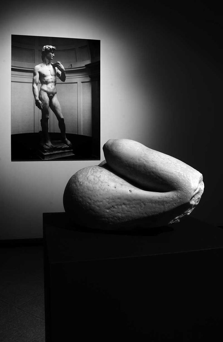"""Souvenir of David,"" sculpture in white marble and photograph of Michelangelo's David, by Fabio Viale (2006)."
