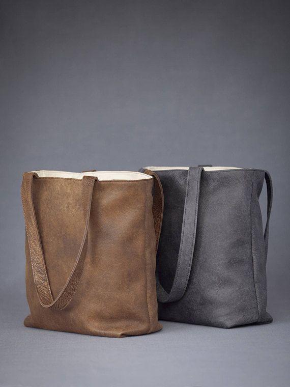 Monogrammed Leather Tote Bag Personalized Handbag