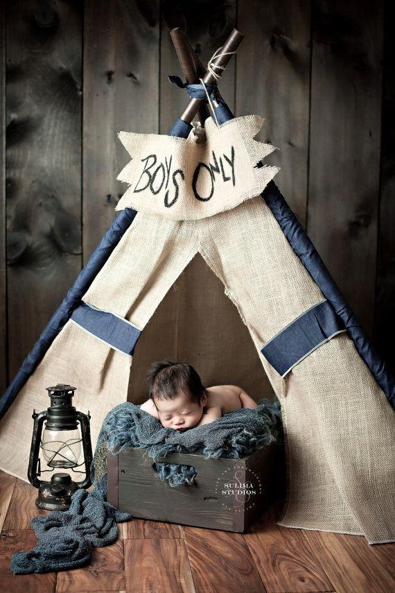 Burlap Teepee Tent Photo Baby Boy Pose Lantern Crate