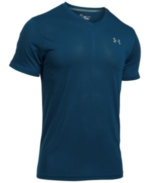 Under Armour Men's Streaker Threadborne V-Neck T-Shirt - Blue XXL