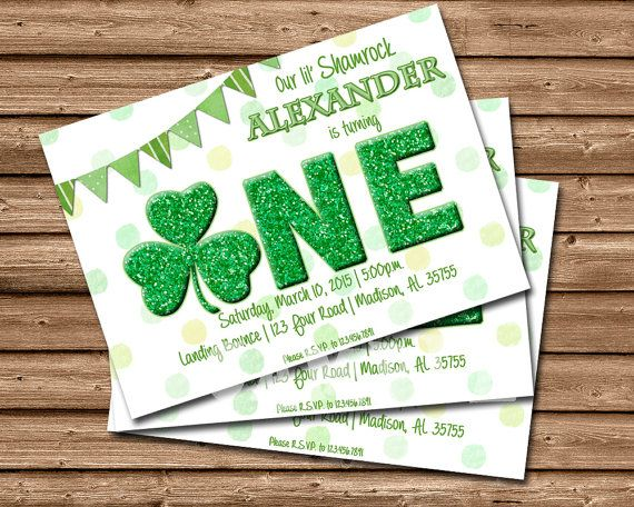 DIY first birthday INVITATIONS, featuring ONE in exciting green irish theme and little shamrock, customized with your personalized party